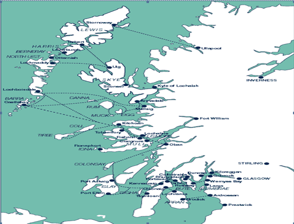 Map of Scotland showing route network of ferry services provided by Caledonian MacBrayne in the Clyde and Hebrides.