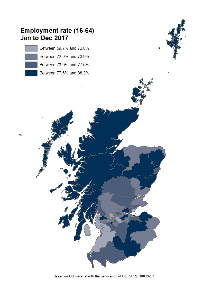 The employment rate for people aged 16 to 64 for each Scottish Parliamentary constituency.
