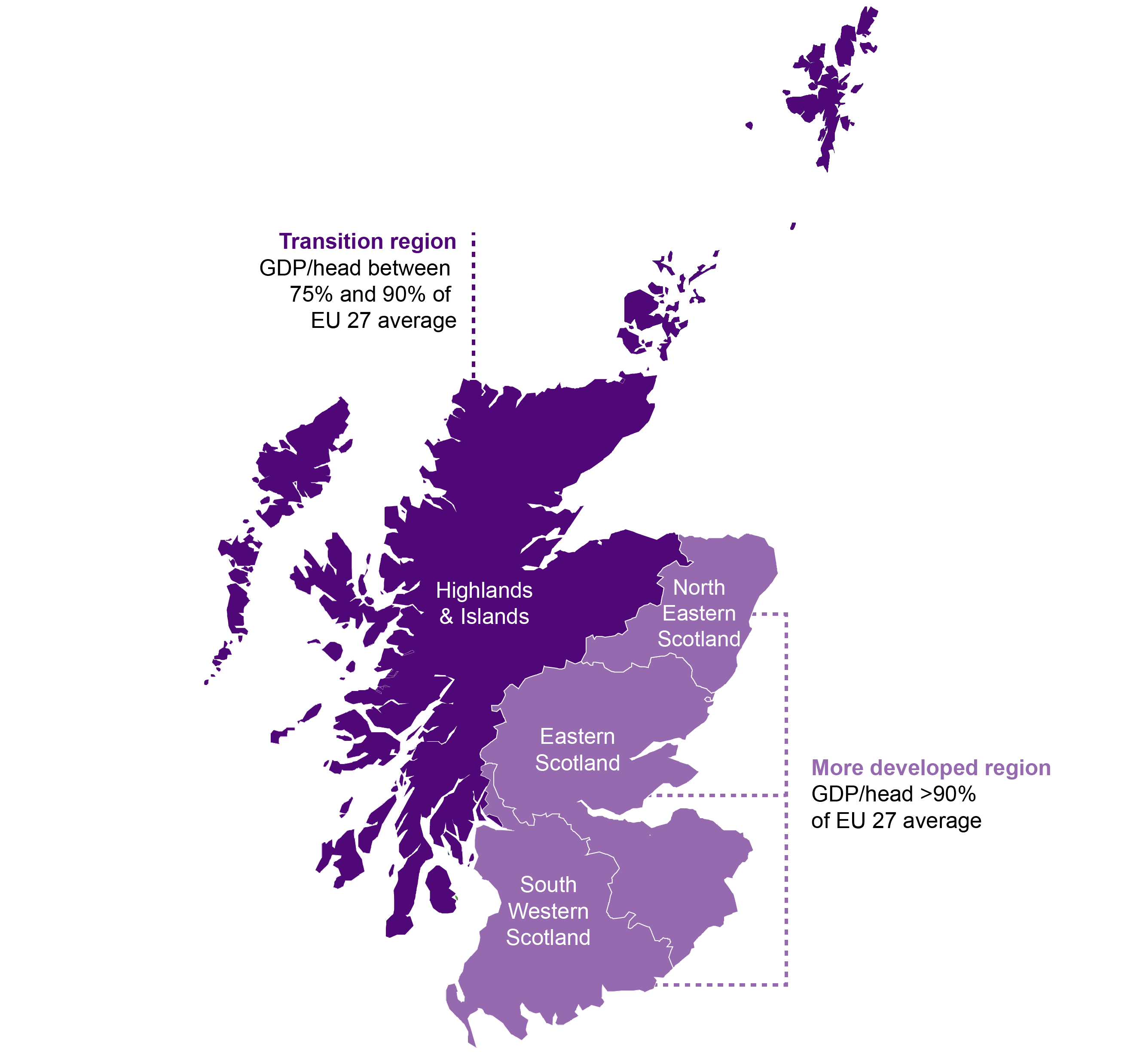 Map of Scotland showing NUTS2 regions for structural funding purposes