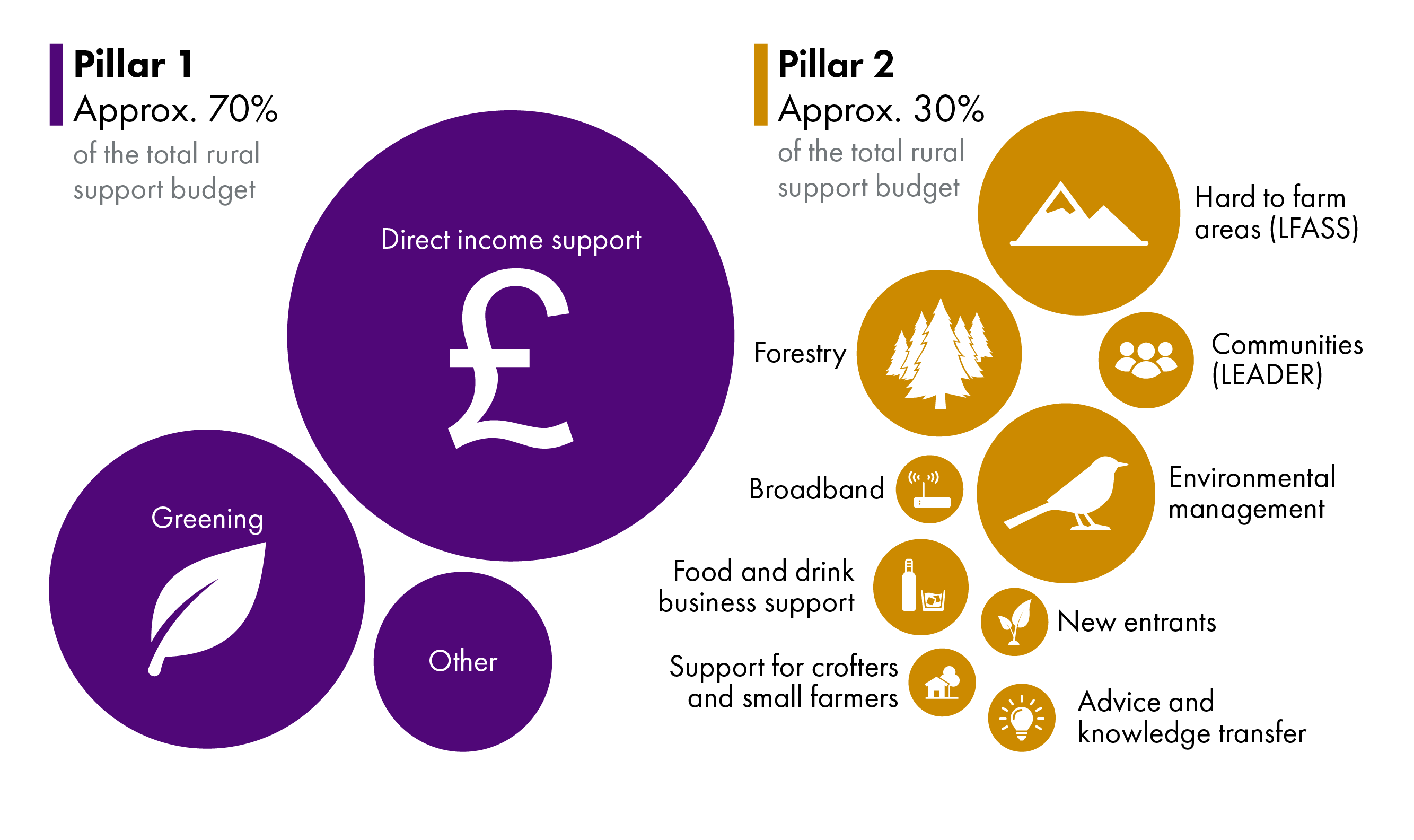 There are several different schemes under the Common Agricultural Policy in Scotland. In Pillar 1, the majority of funding goes to income support, and secondly to greening. In Pillar 2, the largest areas of support are for hard to farm areas, forestry, and environmental management, followed by smaller budgets like food and drink business support and community projects.