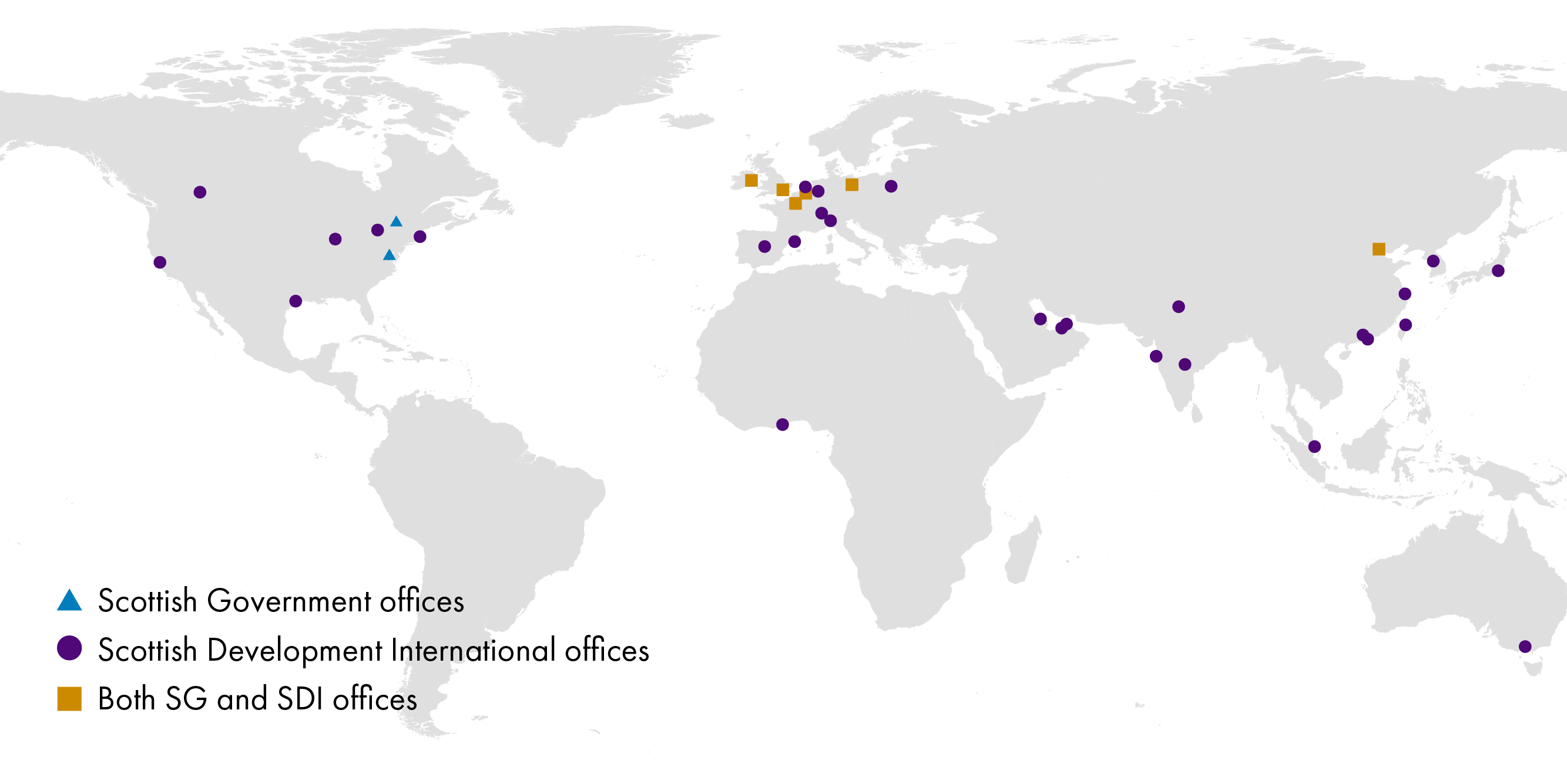 This map shows the location of the Scottish Government's 8 international offices and Scottish Development International's 34 international offices.