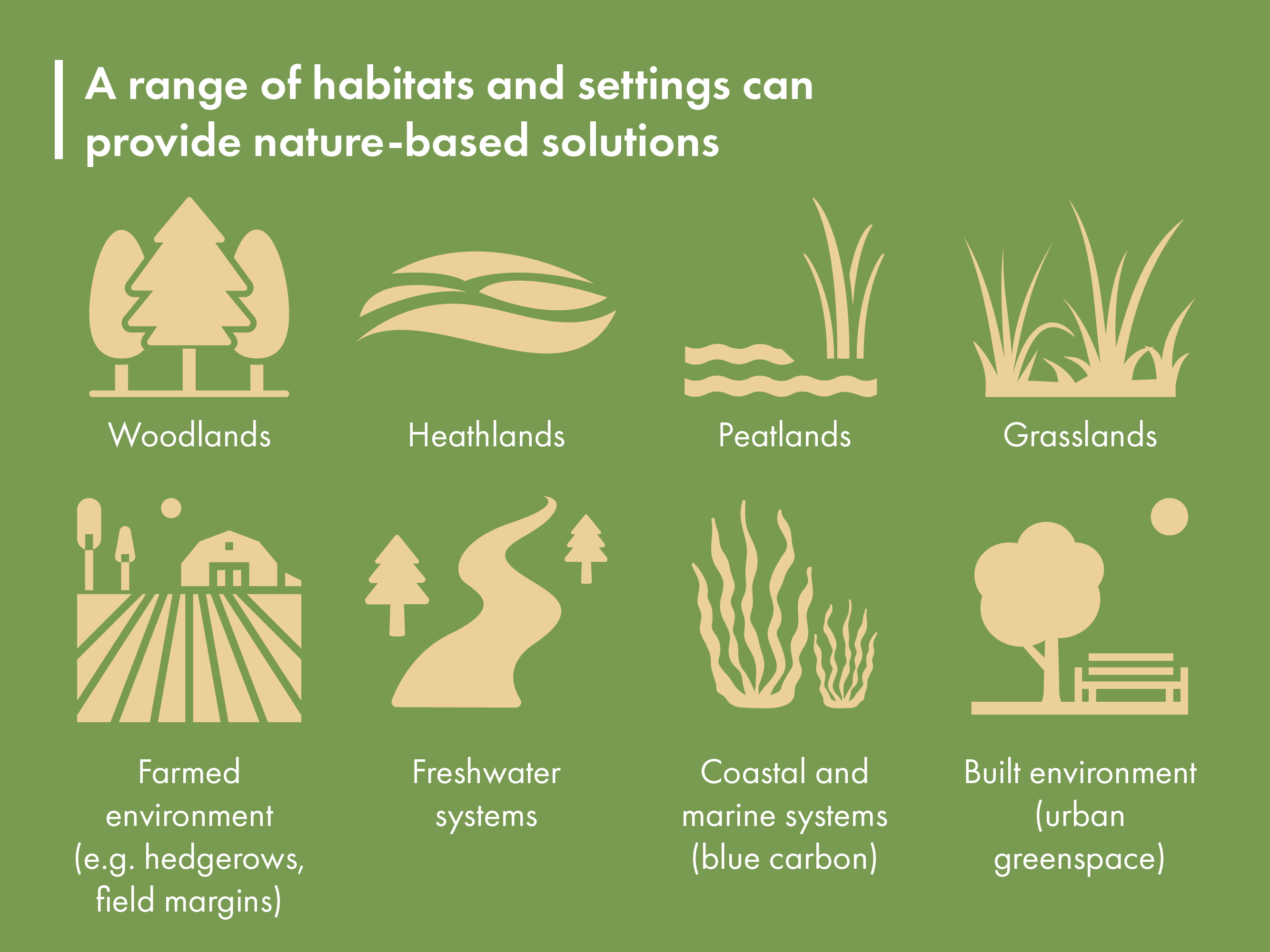 A range of habitats and settings can provide nature-based solutions. These include woodlands, heathlands, peatlands, grasslands, farmed environments, for example through hedgerows and field margins, freshwater systems, coastal and marine systems and urban greenspaces.