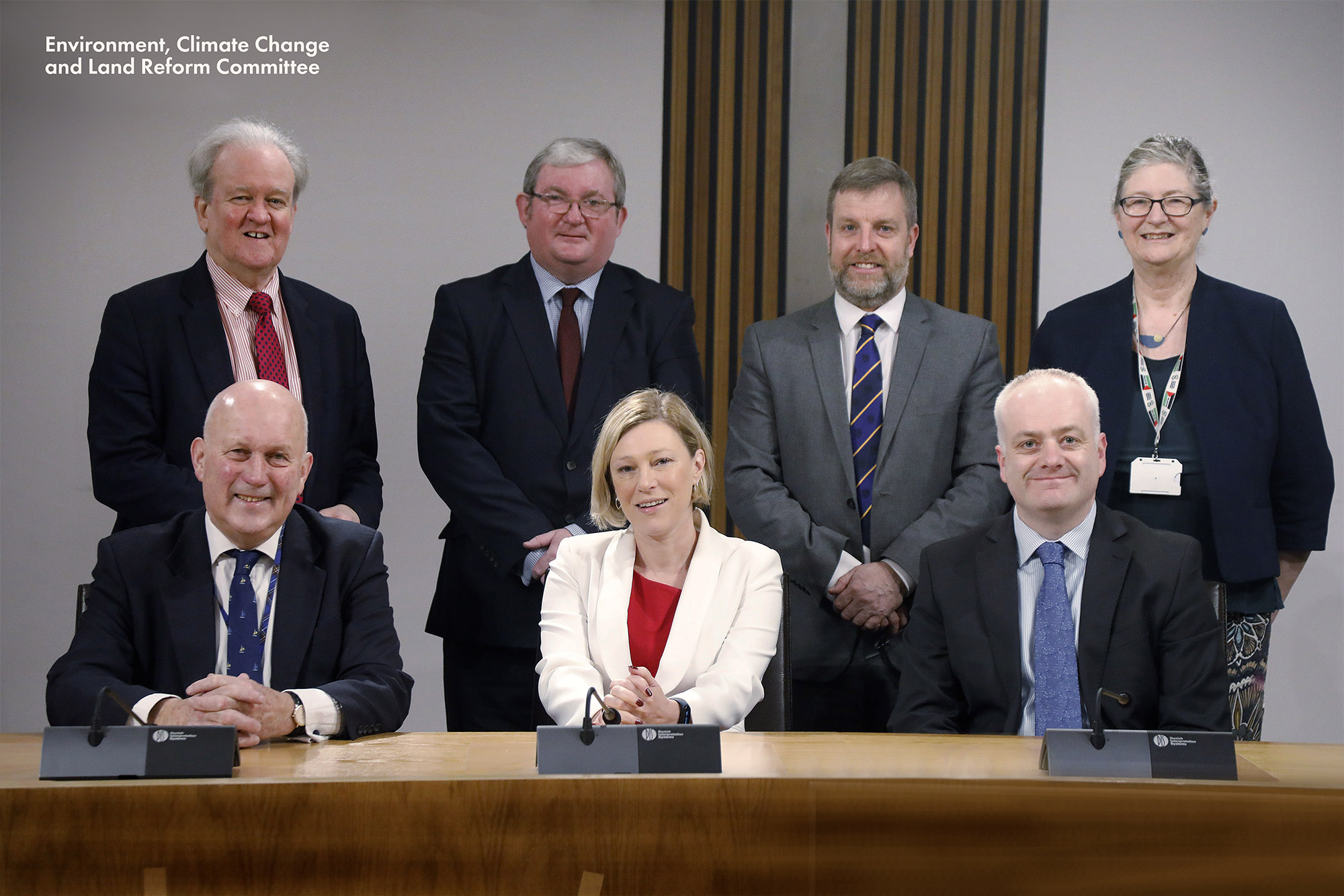 Current Committee membership. Top (L-R): Stewart Stevenson MSP; Angus MacDonald MSP; Finlay Carson MSP and Claudia Beamish. Bottom (L-R): John Scott MSP (Deputy Convener); Gillian Martin MSP (Convener) and Mark Ruskell MSP.