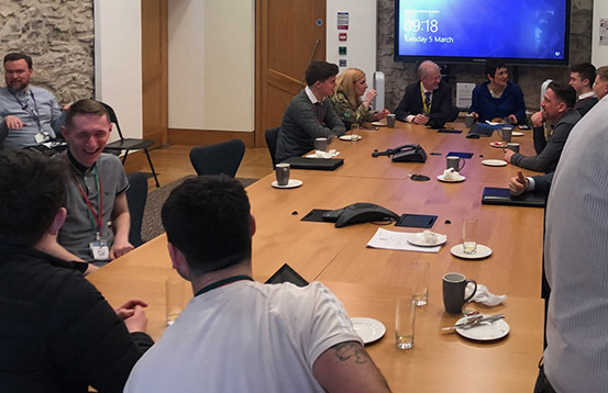 Ahead of the evidence session, the apprentices met the Committee for breakfast.