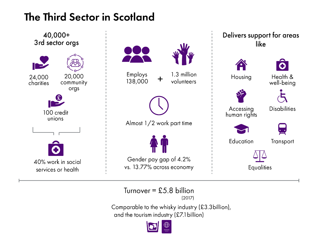 A graphic showing the content of the following paragraphs: sectors supported by the third sector and the budget and turnover