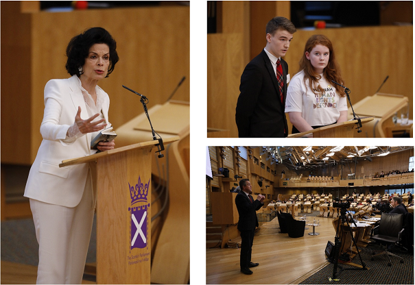 Photo of Bianca Jagger, Founder, President and Chief Executive, Bianca Jagger Human rights Foundation. Photo of Hannah MCP and Ryan McShane MSYP, speaking at the 'Human Rights Take Over!' Event.