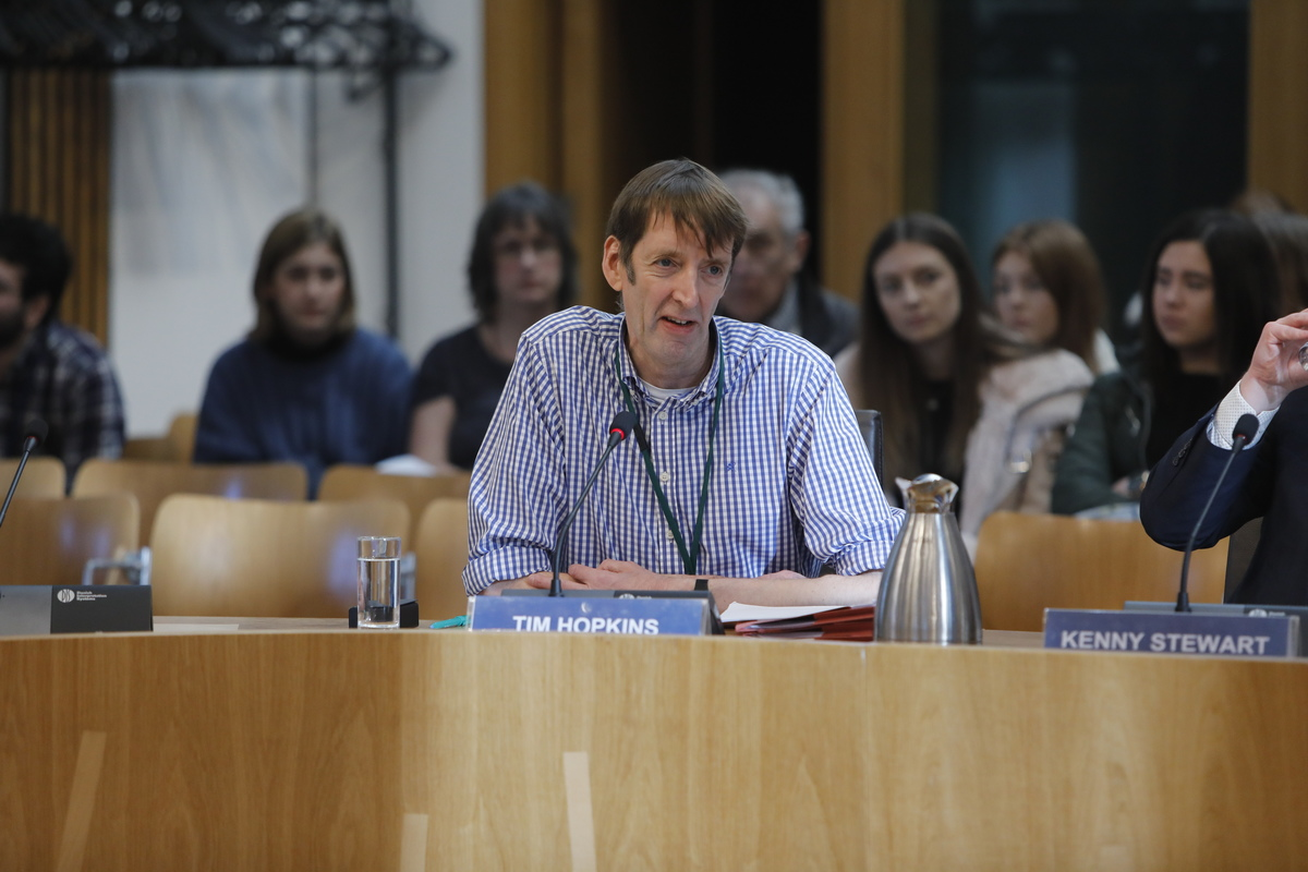 Image of Tim Hopkins from Equality Network giving evidence on Civil Partnership (Scotland) bill