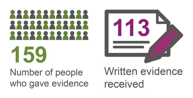We received 113 written submissions and 159 people gave evidence in person.