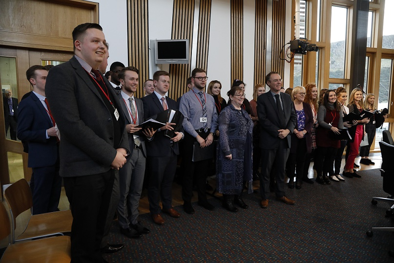 Students from the Royal Conservatoire of Scotland meeting members of the Education and Skills Committee