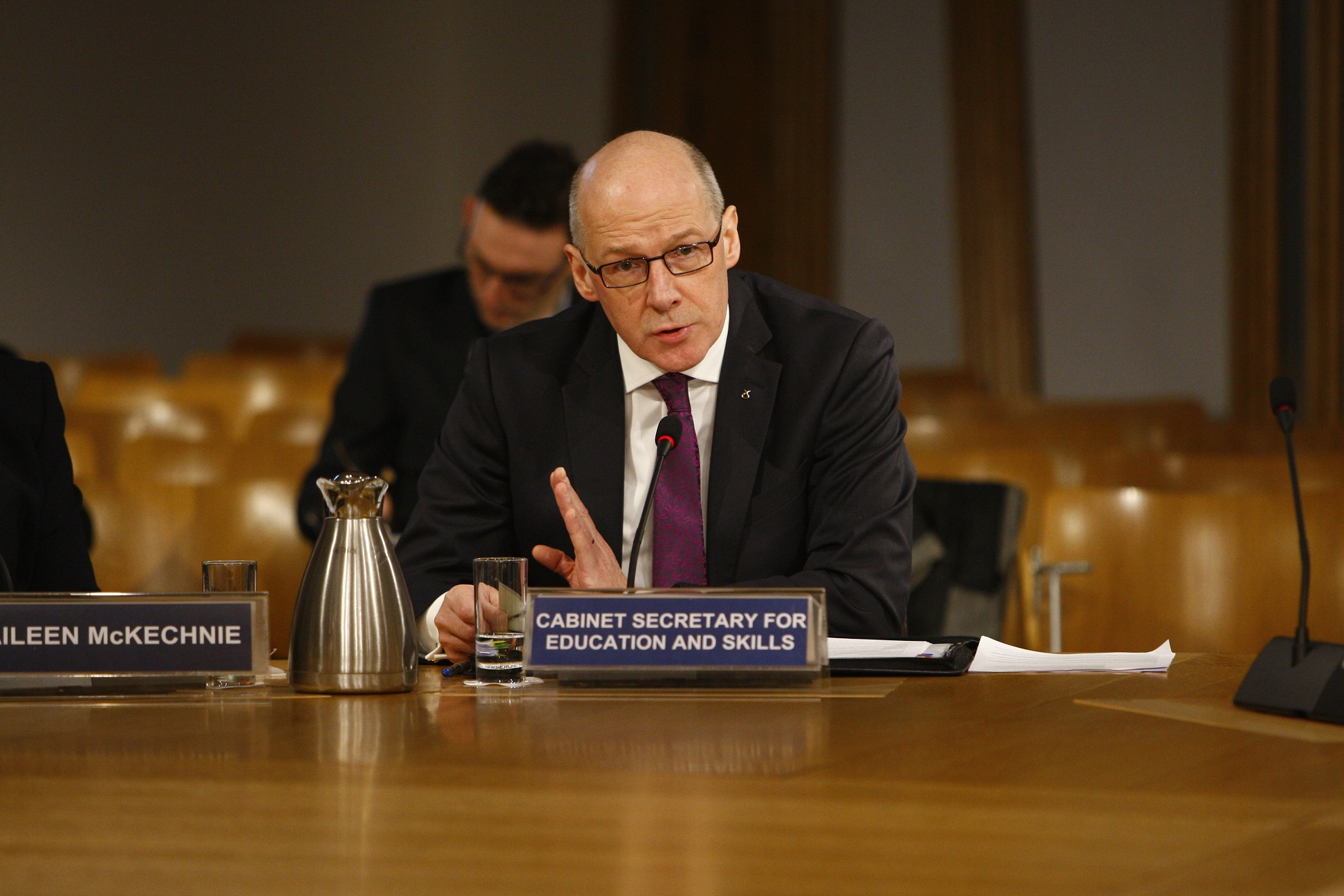Cabinet Secretary for Education and Skills, John Swinney MSP, giving evidence to the Committee