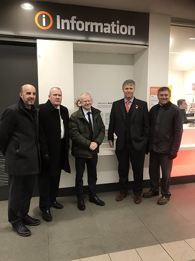 Richard Lyle MSP, John Mason MSP and Edward Mountain MSP with Gordon Dickson and Bruce Kiloh of Strathclyde Partnership for Transport (SPT) in Buchanan Street Subway Station