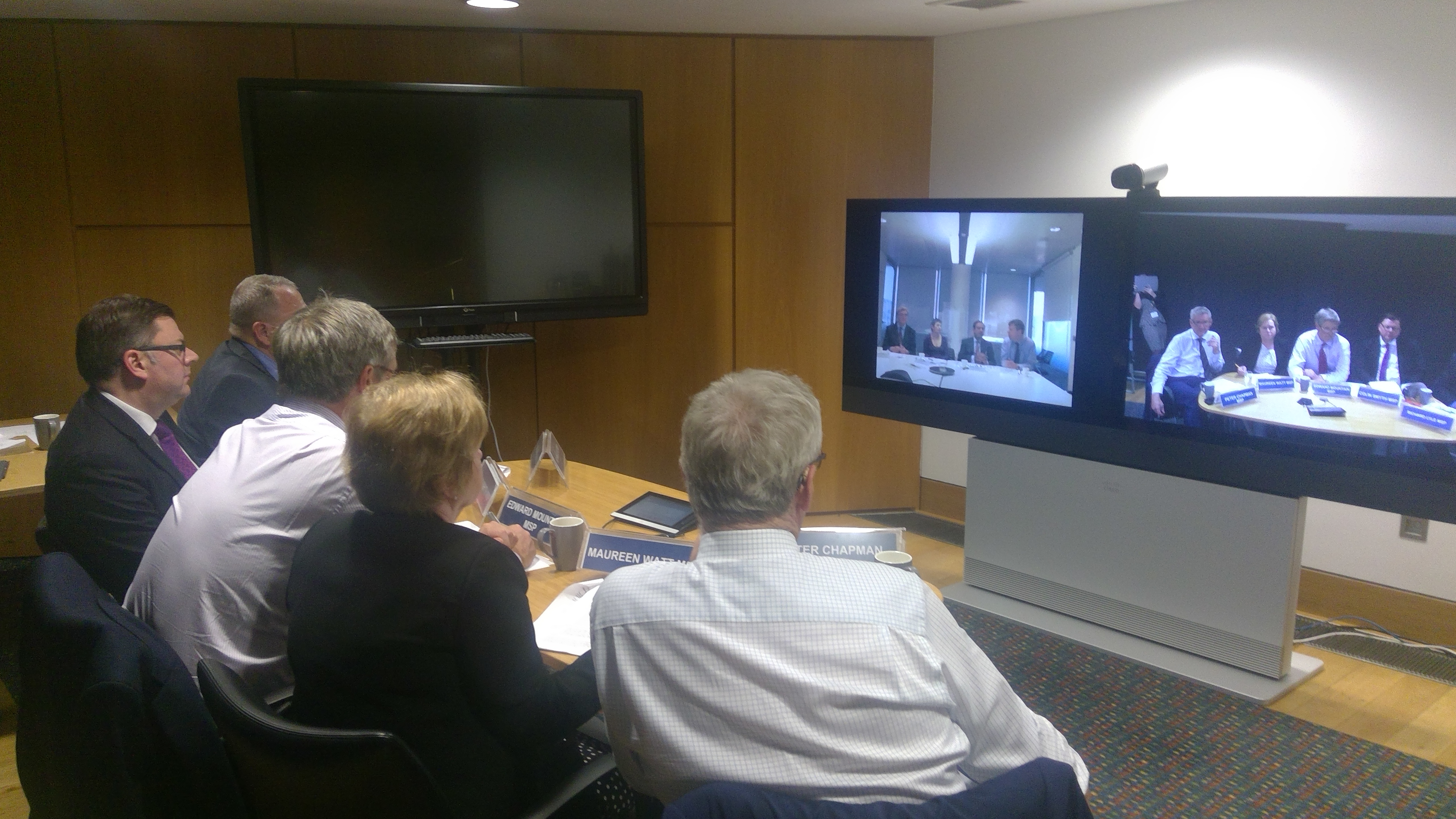 Richard Lyle MSP, Colin Smyth MSP, Edward Mountain MSP, Maureen Watt MSP and Peter Chapman MSP speak with London transport stakeholders via video conference