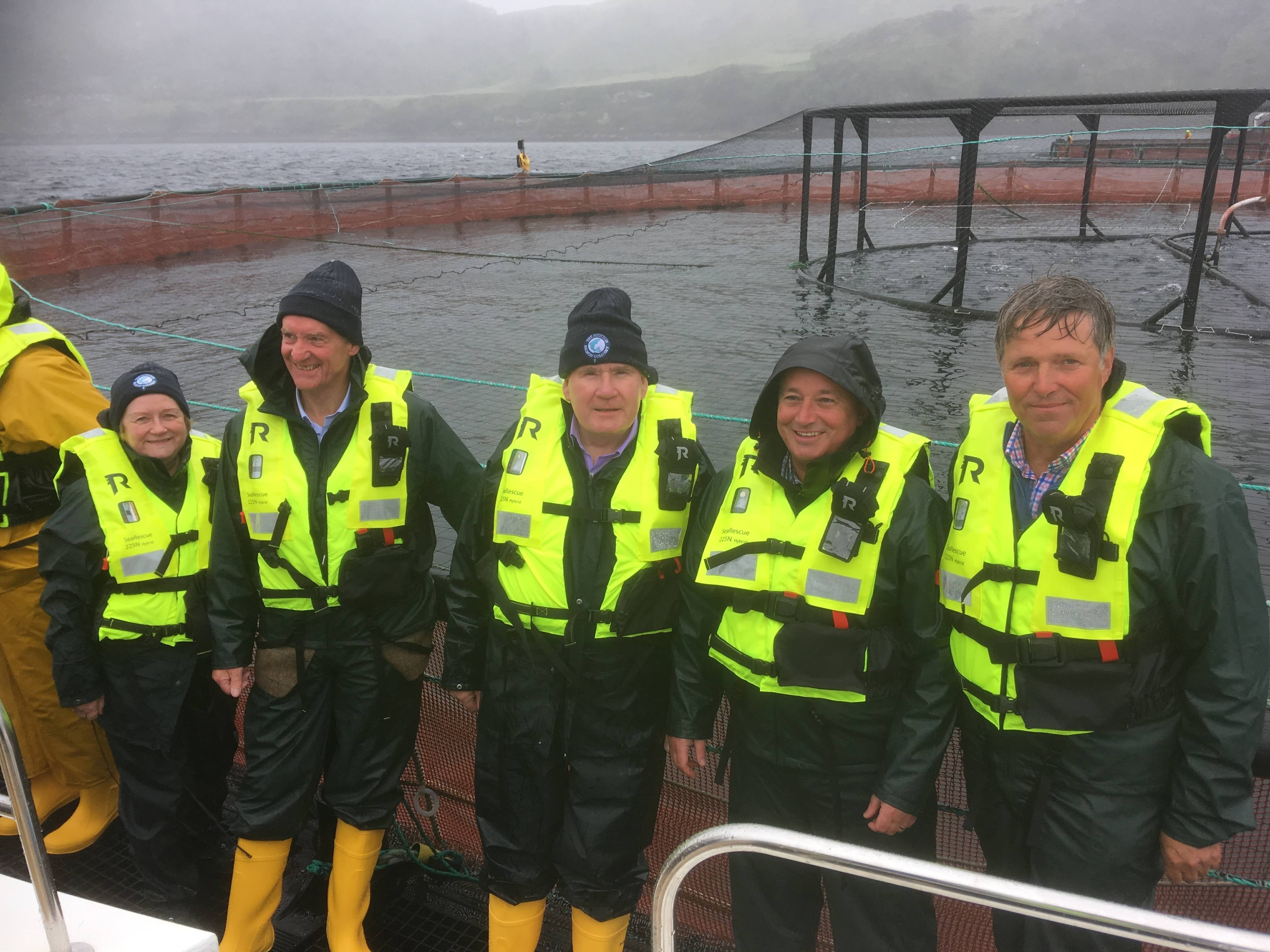 Photo of REC Committee members visit to a salmon farm, September 2019