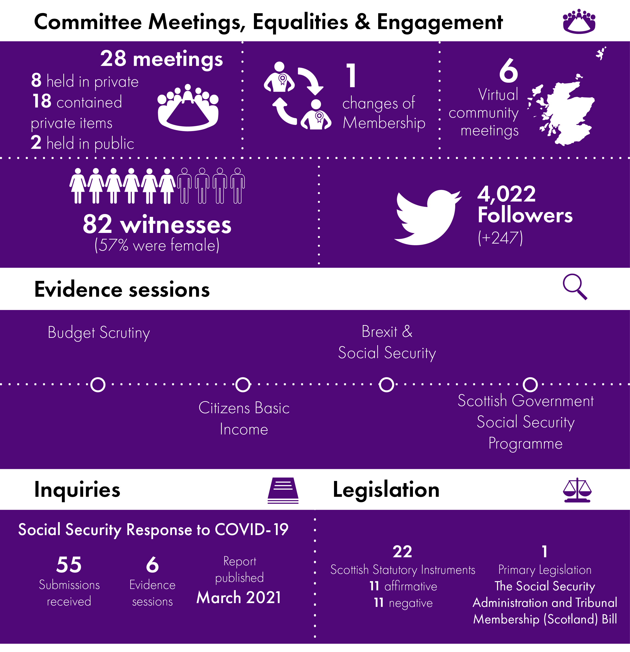 Infographic summarising the work of the Committee in 2020-21. Statistics are repeated through the report.